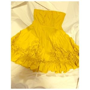 Anthropology Ryu Halter Dress Strapless Mustard L